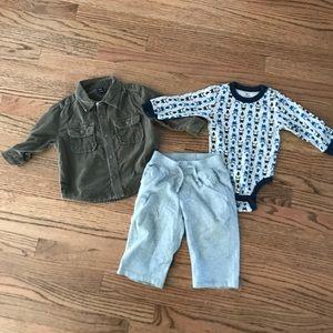 Baby Gap corduroy, Gap pants, Old Navy onesie